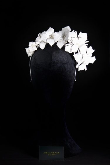 Ladies hat, race day hat, mother of the bride hat, mother of the groom hat, irish millinery, irish design, irish fashion, wedding guest fashion, leather crown